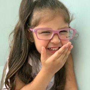 RayBan Junior Eyeglasses RY1550 3656 Pink on Brown